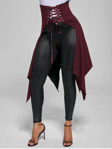 Shops High Waist Front Slit Lace Up Asymmetrical Skirt - S WINE RED Mobile