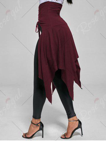 Outfit High Waist Front Slit Lace Up Asymmetrical Skirt - S WINE RED Mobile