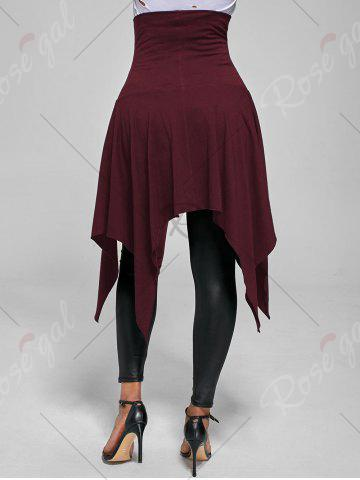 New High Waist Front Slit Lace Up Asymmetrical Skirt - S WINE RED Mobile
