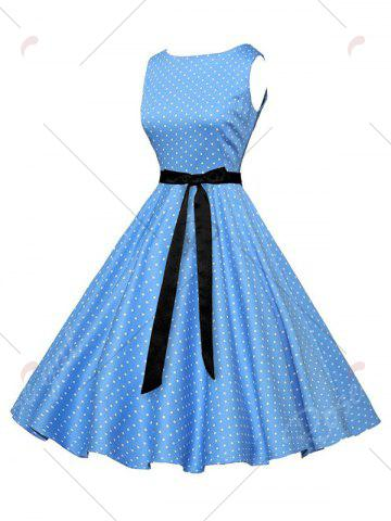 Store Polka Dot Sleeveless Vintage Dress with Belt - S BLUE Mobile