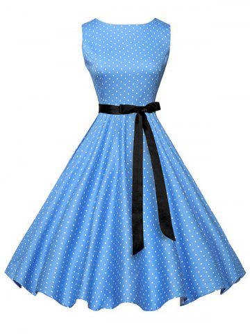 New Polka Dot Sleeveless Vintage Dress with Belt - S BLUE Mobile