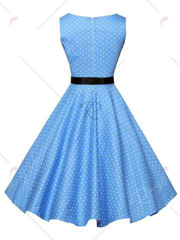 Shop Polka Dot Sleeveless Vintage Dress with Belt - S BLUE Mobile
