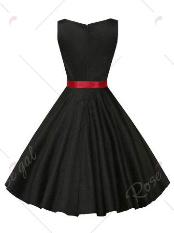 Online Sleeveless Plain Vintage Belt Dress - 2XL BLACK Mobile