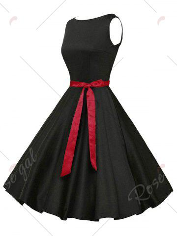 Outfit Sleeveless Plain Vintage Belt Dress - 2XL BLACK Mobile