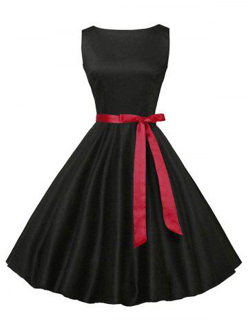 Shops Sleeveless Plain Vintage Belt Dress - 2XL BLACK Mobile