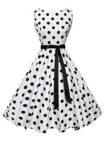 Outfits Sleeveless Polka Dot Vintage Dress with Belt - S WHITE Mobile
