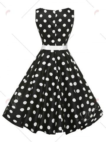 Latest Sleeveless Polka Dot Vintage Dress with Belt - 2XL BLACK Mobile