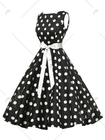 Chic Sleeveless Polka Dot Vintage Dress with Belt - 2XL BLACK Mobile