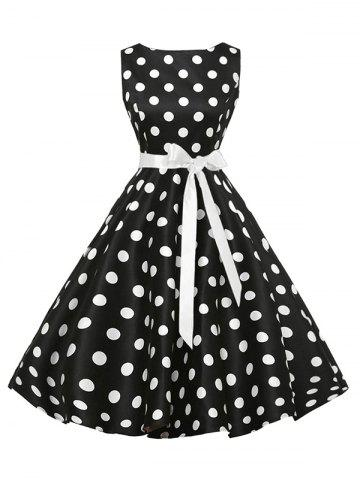 Sale Sleeveless Polka Dot Vintage Dress with Belt - 2XL BLACK Mobile