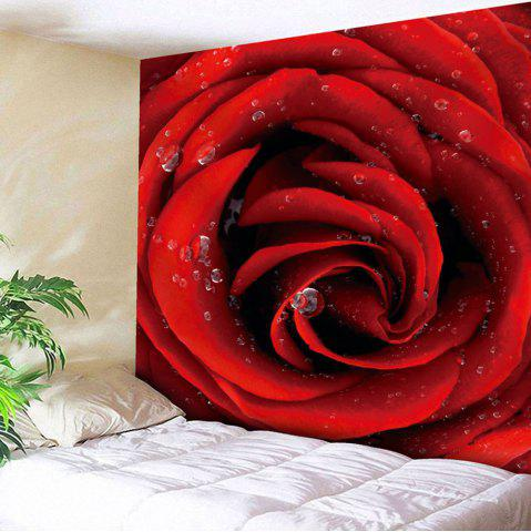 Microfiber Wall Hanging Dew Rose Tapestry - Rose Madder - W79 Inch * L59 Inch