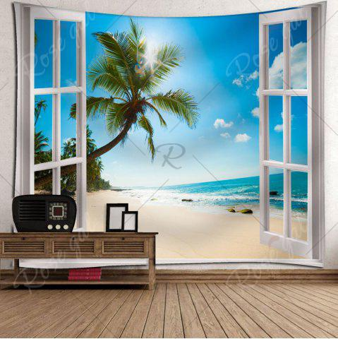 Best Microfiber Tapestry Window Beach Wall Hanging - W79 INCH * L59 INCH BLUE Mobile