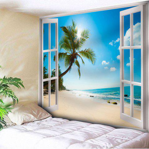Fancy Microfiber Tapestry Window Beach Wall Hanging - W79 INCH * L59 INCH BLUE Mobile