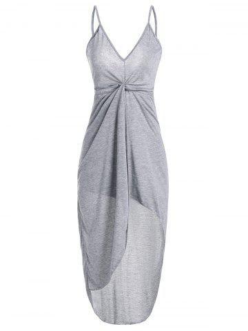 Spaghetti Strap Twist Front High Low Backless Dress - Gray - S