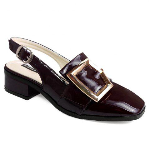 Hot Double Buckle Strap Slingback Pumps BORDEAUX 39