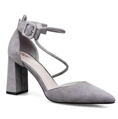 Best Pointed Toe Block Heel Pumps GRAY 39