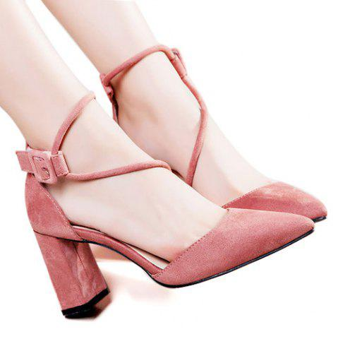 Store Pointed Toe Block Heel Pumps WATERMELON RED 39