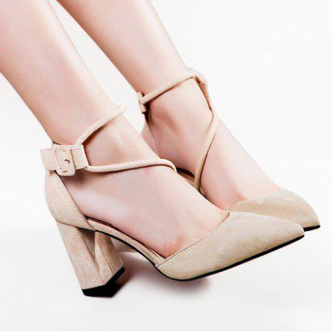 Shop Pointed Toe Block Heel Pumps APRICOT 39