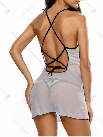 Shops Cross Back See Through Babydoll - ONE SIZE WHITE Mobile