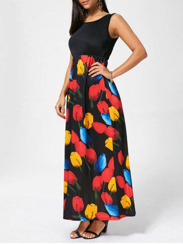 Tulip Print Impériale taille manches robe maxi