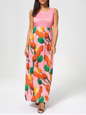 Fashion Tulip Print Empire Waist Sleeveless Maxi Dress - XL PINK Mobile