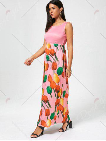Outfits Tulip Print Empire Waist Sleeveless Maxi Dress - XL PINK Mobile