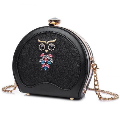 Buy Owl Sequined Crossbody Bag - BLACK  Mobile