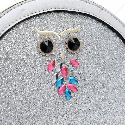 New Owl Sequined Crossbody Bag - RED  Mobile