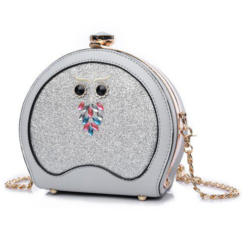 Sac Crossbody Sequined de hibou Argent