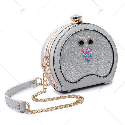 Discount Owl Sequined Crossbody Bag - SILVER  Mobile
