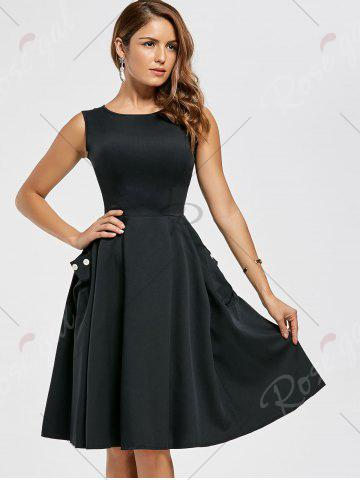 Outfit Pockets Fit and Flare Work Dress - S BLACK Mobile