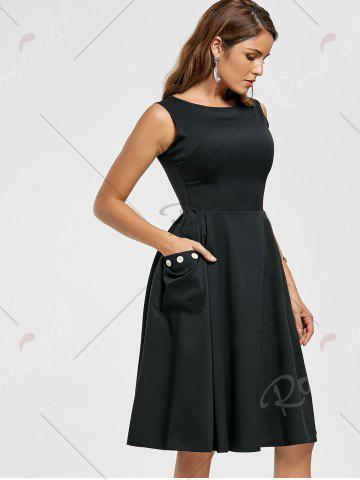 Latest Pockets Fit and Flare Work Dress - S BLACK Mobile