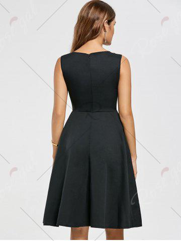 Fancy Pockets Fit and Flare Work Dress - S BLACK Mobile