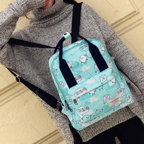Unique Nylon Printed Backpack - GREEN  Mobile