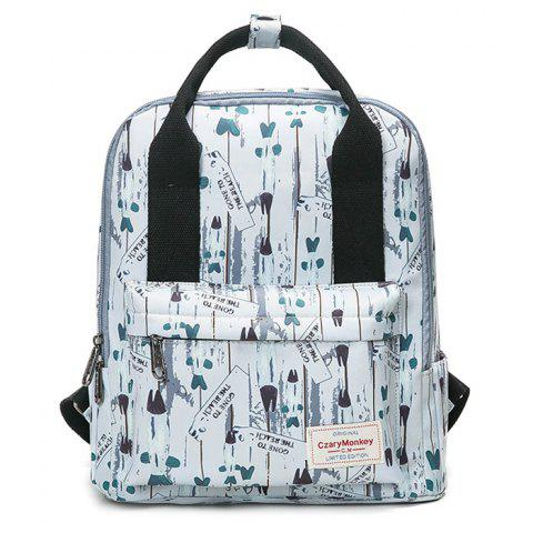 Discount Nylon Printed Backpack WHITE