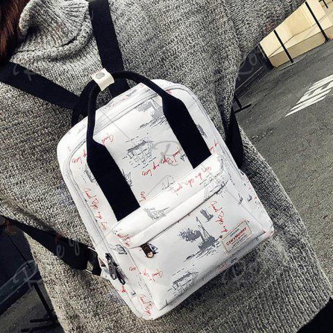 Fancy Nylon Printed Backpack - APRICOT  Mobile