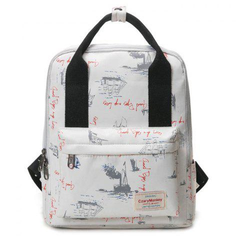 Affordable Nylon Printed Backpack APRICOT