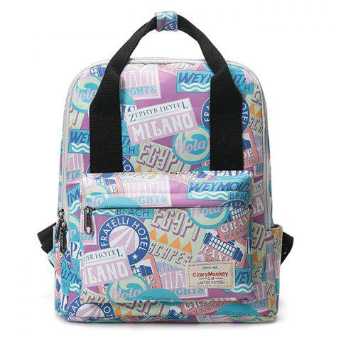 Trendy Nylon Printed Backpack - PURPLE  Mobile
