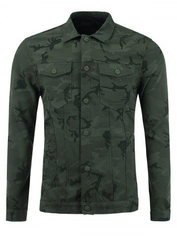 Single Breasted Double Pockets Camouflage Jacket - Deep Green - Xl