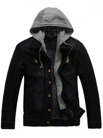 Button Up Detachable Hood Pockets Denim Jacket - Black - L