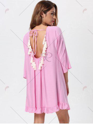 Sale Tassel Lace Up Backless Casual Dress - M PINK Mobile