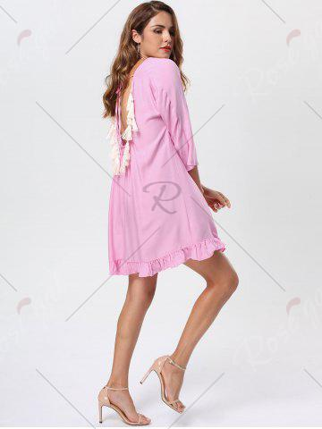 Fancy Tassel Lace Up Backless Casual Dress - M PINK Mobile