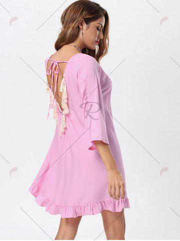 Shops Tassel Lace Up Backless Casual Dress - M PINK Mobile