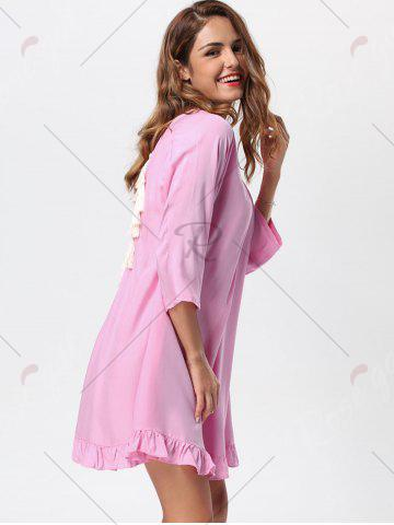Fashion Tassel Lace Up Backless Casual Dress - M PINK Mobile