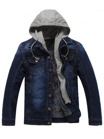 Button Up Detachable Hood Pockets Denim Jacket - Deep Blue - L