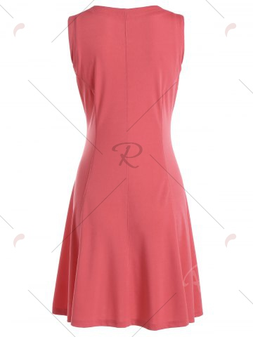 Buy Zip Up Sleeveless Flare Dress - S WATERMELON RED Mobile