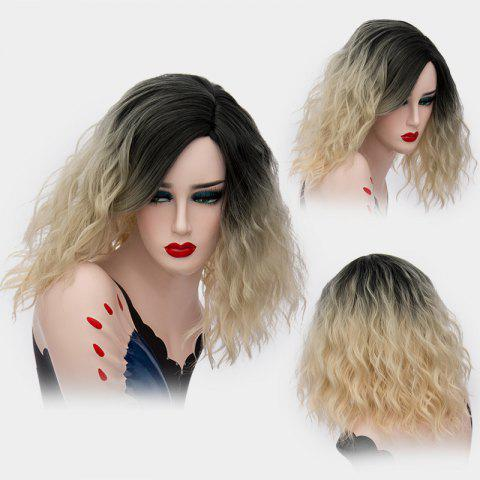 Medium Side Part Shaggy Natural Wave Ombre Synthetic Wig - Golden