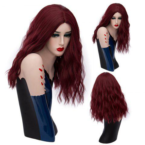 Long Center Part Fluffy Natural Wave Synthetic Wig - Dark Red