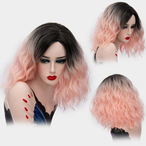 Medium Side Part Shaggy Natural Wave Ombre Synthetic Wig - Light Pink