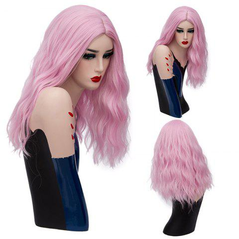 Long Center Part Fluffy Natural Wave Synthetic Wig - Light Pink