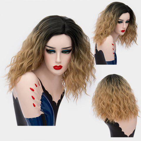 Medium Side Part Shaggy Natural Wave Ombre Synthetic Wig - Gold Brown